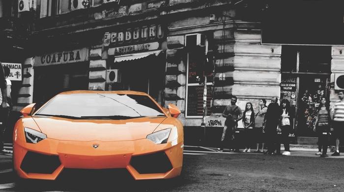 car, vehicle, Lamborghini, orange cars