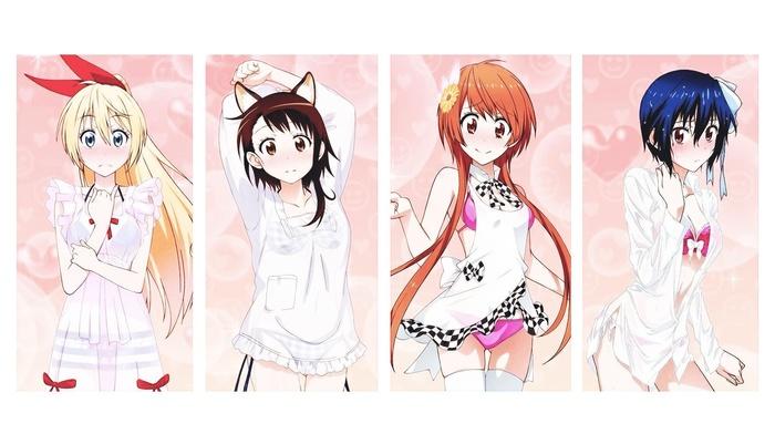 anime girls, kirisaki chitoge, onodera kosaki, anime, nisekoi, tachibana marika, tsugumi seishirou