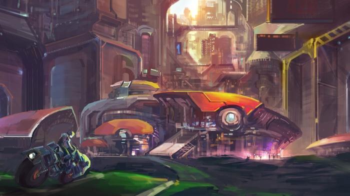 futuristic, city, artwork