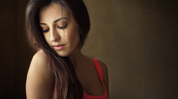 tank top, closed eyes, portrait, girl, cleavage, simple background, face, brunette, Dmitry Shulgin, model, long hair