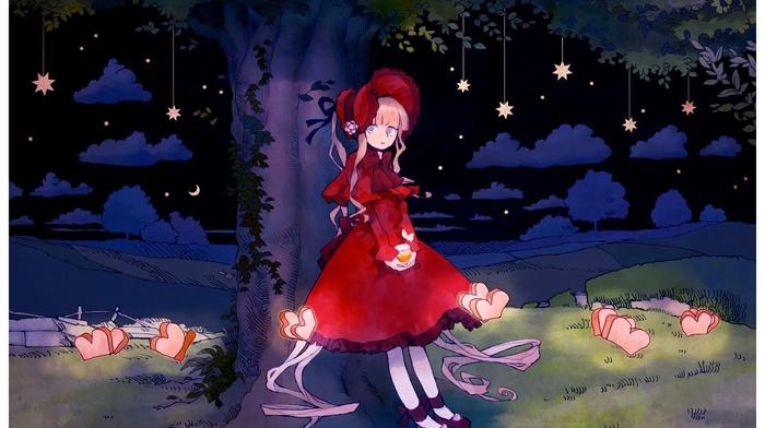 night, anime girls, red dress, trees, stars