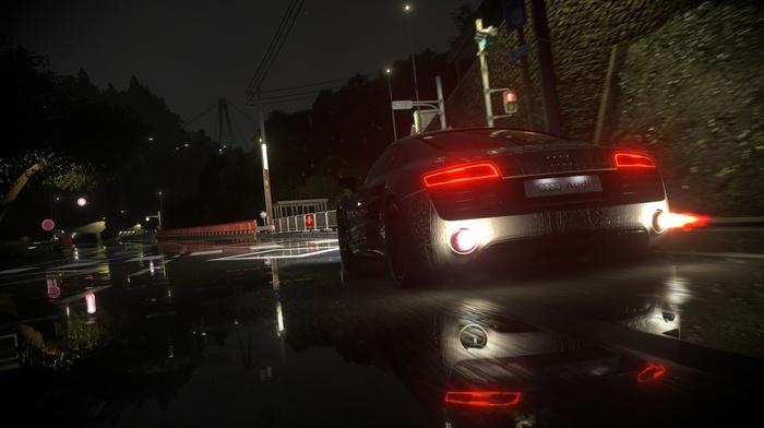 video games, Audi, Driveclub, night, V10 engine, audi r8, road, rain, lights