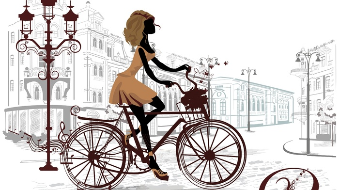 bicycle, girl, artwork, Paris