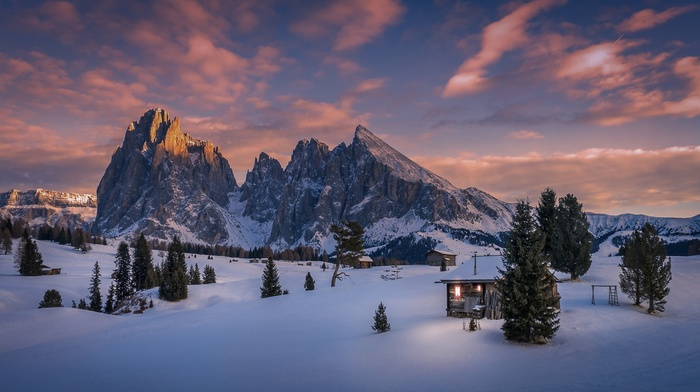 mountains, pine trees, Italy, Dolomites mountains, cabin, snow