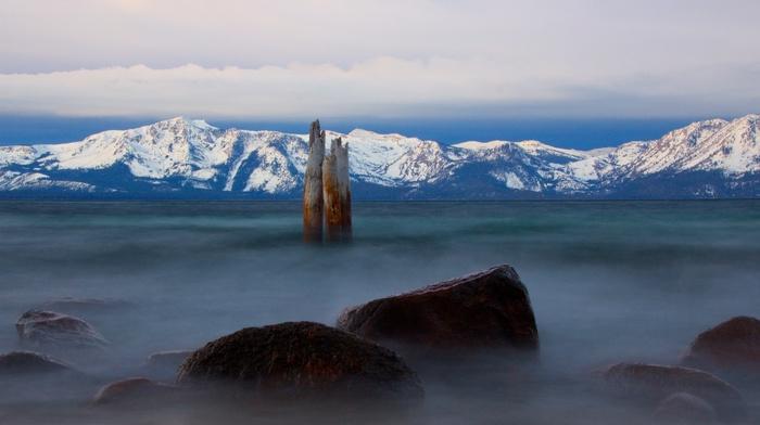 Lake Tahoe, mountains, lake, mist