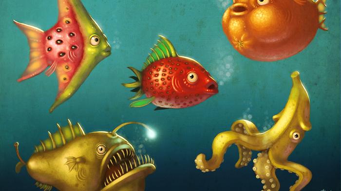 bananas, water, squids, fish, fruit, animals, pears, watermelons, Anglerfish, underwater, food, strawberries, orange fruit