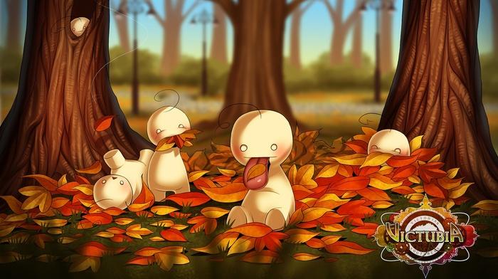 trees, memes, animals, mascot, leaves, fall, tongues, Cryaotic