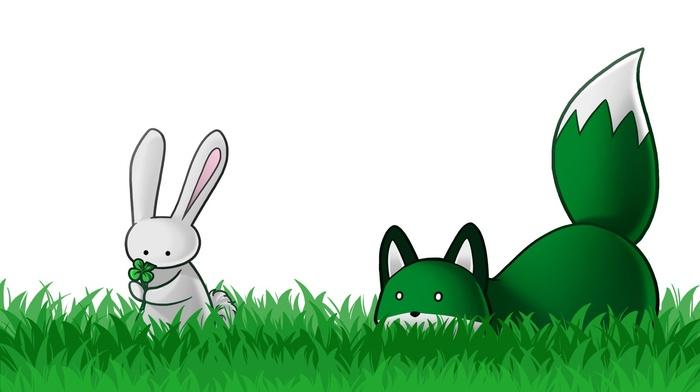 animals, grass, stupid fox, fox, holiday, Shamrock, rabbits