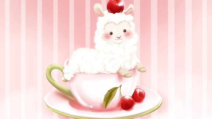cherries, plates, cup, alpacas, animals, food, cherries food