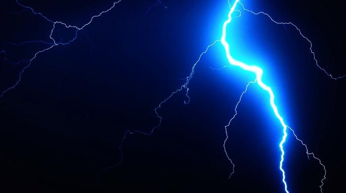 lightning, black, blue, dark