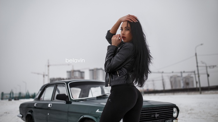 looking at viewer, brunette, jacket, girl with cars, Alexander Belavin, ass, leather leggings, Diliara Zaripova, girl, hands on head