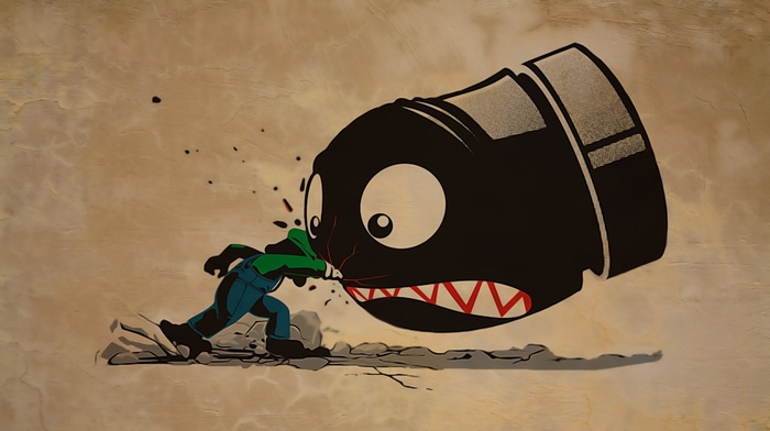 artwork, video games, Bullet Bill, Luigi, Super Mario