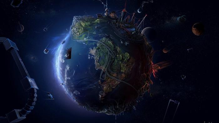 digital art, geography, space, Earth, planet, satellite, world, abstract, anime, fantasy art, futuristic, david fuhrer, road, artwork