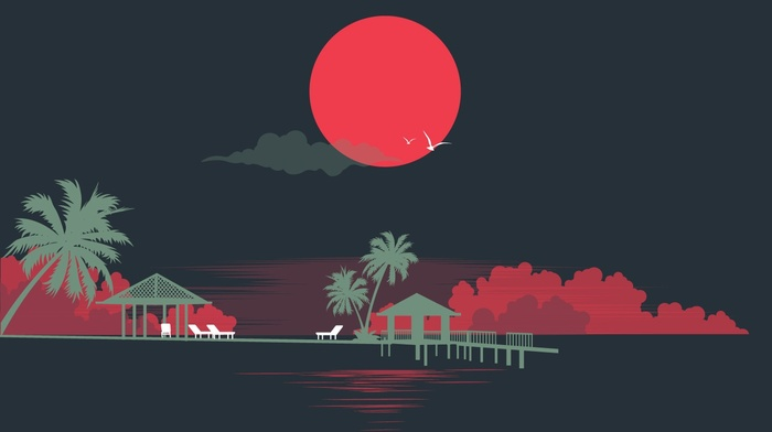 Sun, palm trees, minimalism, sea, abstract, artwork