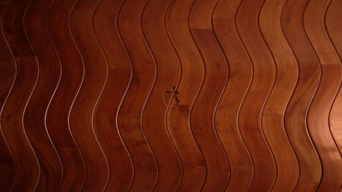 lines, wooden surface, Apple Inc., texture, digital art, shapes, waves, logo