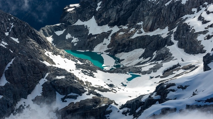 snow, nature, mountains, river, lake, canyon