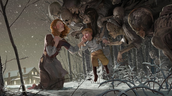 skeleton, artwork, winter, ghosts, fairy tale, redhead, fantasy art