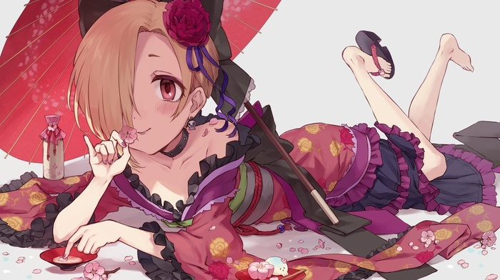anime girls, THE iDOLMSTER, kimono, THE iDOLMSTER Cinderella Girls, short hair, anime, Shirasaka Koume, umbrella