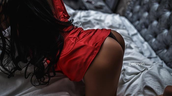 Alexander Belavin, girl, brunette, in bed, ass, panties, red dress