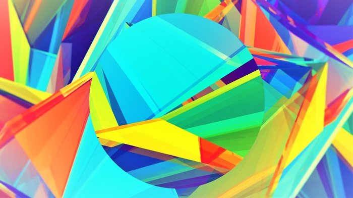 abstract, blue, 3D, yellow, green, purple, circle, red, pink, colorful, orange