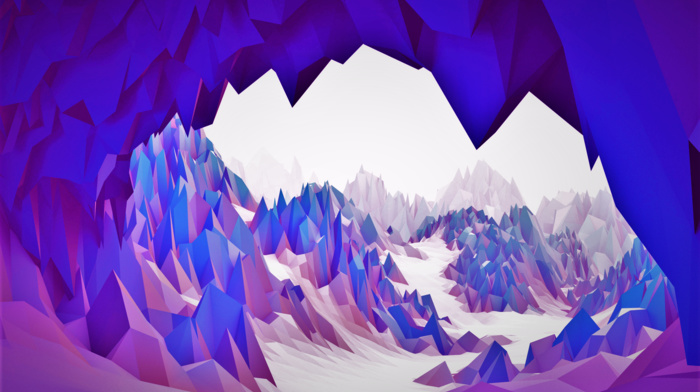 purple, cave, 3D, blue, bright, white, abstract