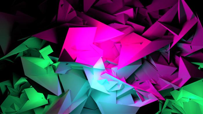 purple, digital art, blue, 3D, dark, black, shards, colorful, green, pink, Blu