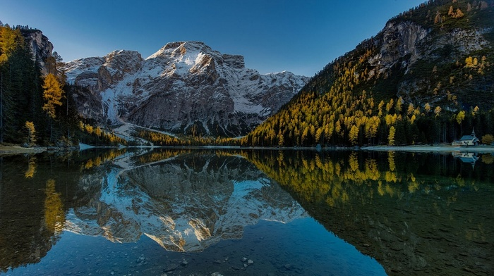 mountains, Italy, reflection, nature, church, landscape, Alps, sunset, forest, fall, snow, lake