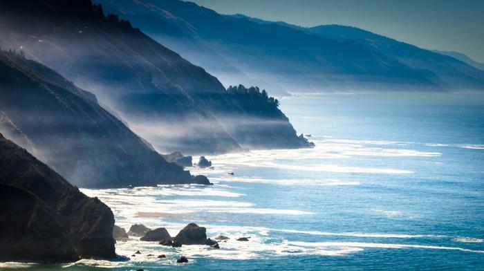 nature, mountains, mist, california, coast, sea, rocks, landscape