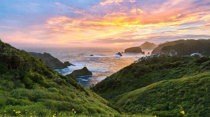 landscape, sky, sea, nature, rocks, Japan, coast, clouds, shrubs, green, sunset, wildflowers