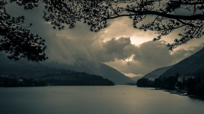 lake, building, landscape, mountains, trees, Italy, dark, clouds, daylight, nature