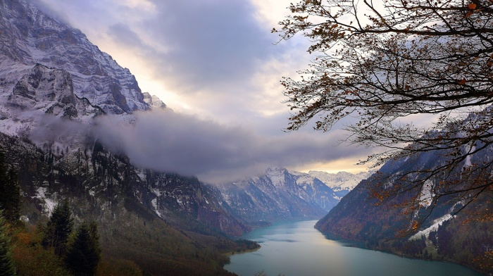clouds, snowy peak, trees, lake, landscape, fall, nature, Switzerland, mountains, Alps