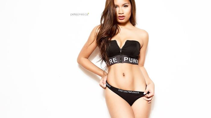 portrait, Asian, girl, pierced navel, white background, Armani, simple background, underwear