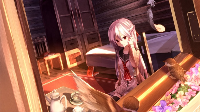 birds, white hair, bedroom, drink, long hair, anime, room, school uniform, original characters, bed, feathers, anime girls