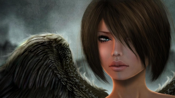 girl, angel, face, fantasy art, hair in face, digital art, wings, short hair, render, blue eyes