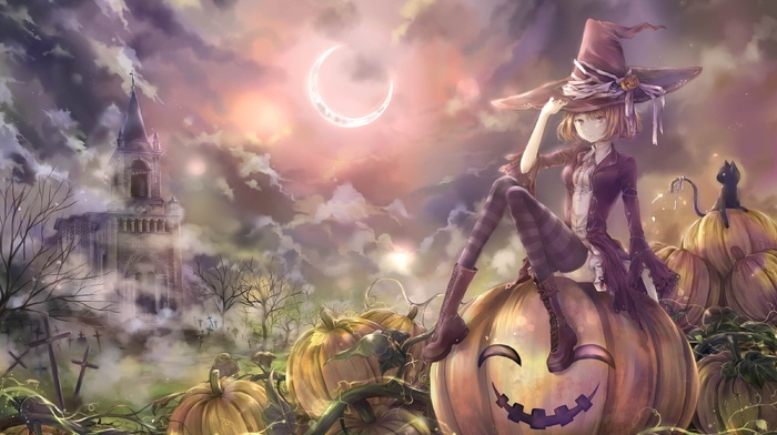 Halloween, blonde, anime, castle, witch, moon, pumpkin, cat, anime girls, thigh, highs, clouds, hat