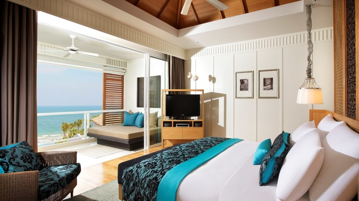 bed, room, water, sea, interior