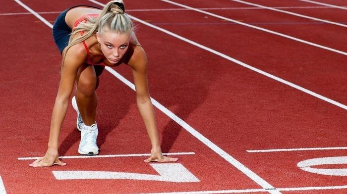 stadium, sports bra, bare shoulders, girl, model, running, girl outdoors, ponytail, blonde, sneakers, long hair, sport