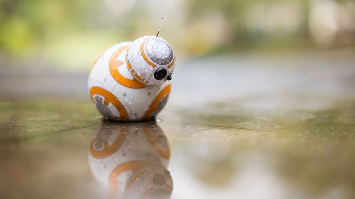 toys, water, Star Wars, BB, 8, reflection, water drops