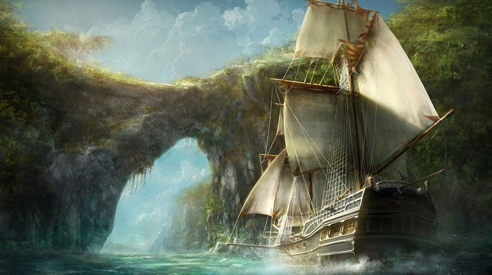 digital art, pirates, ship, Caribbean, bay, water, old ship, rocks