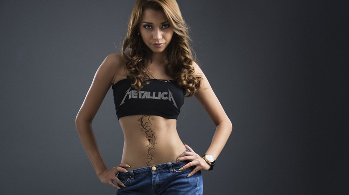 simple background, jean shorts, girl, tattoo, black tops, brunette, Metallica, portrait