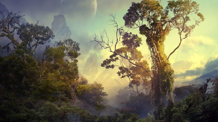 sky, bushes, space, forest, trees, planet, tropical, clouds