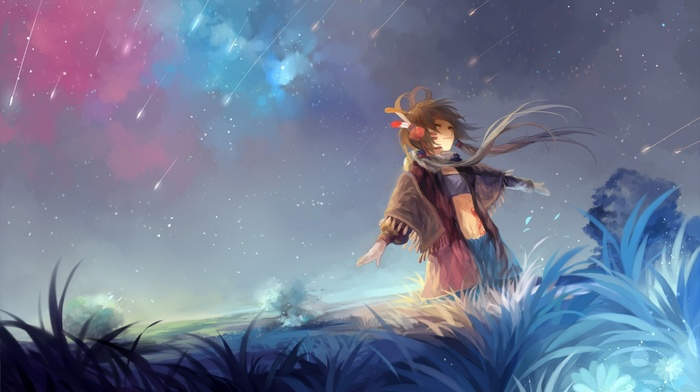 sky, stars, Vocaloid, anime girls, field, anime, Luo Tianyi, brunette