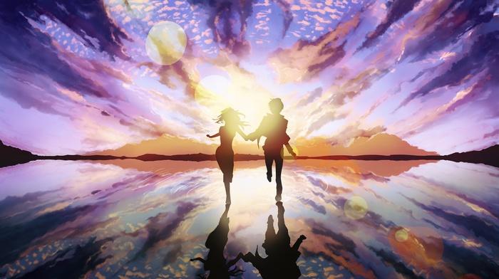 sunset, island, anime girls, anime, holding hands
