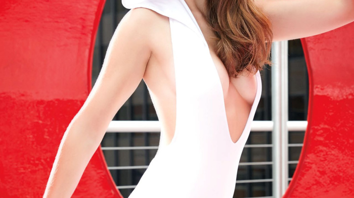 actress, Alison Brie, One, piece swimsuit, swimwear, looking at viewer, girl, cleavage, portrait display, celebrity, high heels, brunette