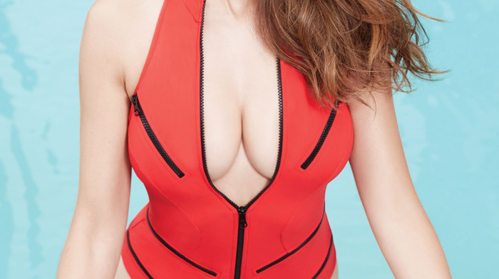 portrait display, swimming pool, girl, One, piece swimsuit, cleavage, actress, looking at viewer, swimwear, brunette, celebrity, Alison Brie