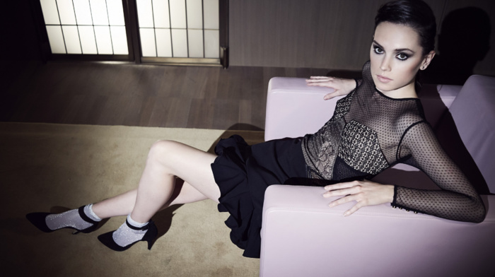 Daisy Ridley, actress, celebrity, armchairs, see, through clothing, spotlights, looking at viewer, high heels, girl, dress, brunette
