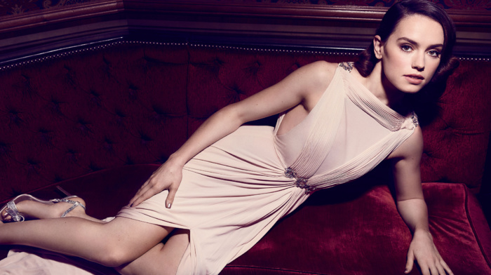 lying on side, Daisy Ridley, high heels, glamour, celebrity, brunette, dress, actress, looking at viewer, girl