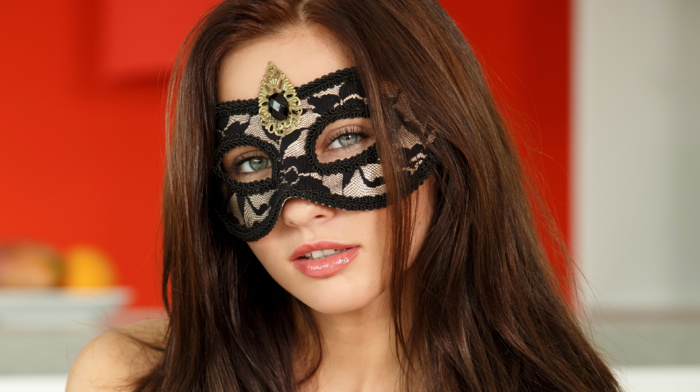 Michaela Isizzu, looking at viewer, girl, mask, brunette, sensual gaze