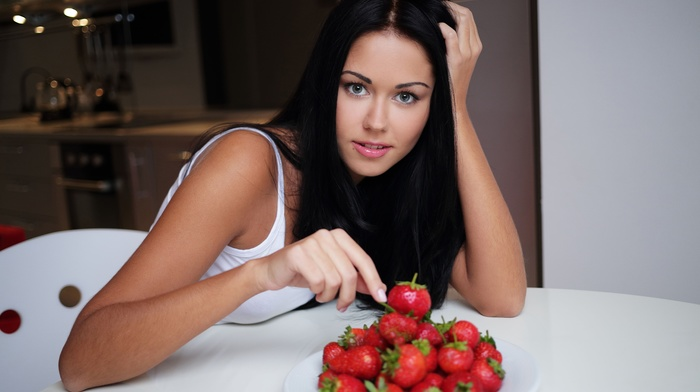 strawberries, table, Macy B, girl, hands on head, looking at viewer, black hair