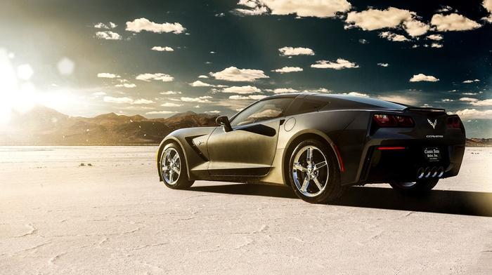 Chevrolet Corvette Stingray, vehicle, clouds, car, desert
